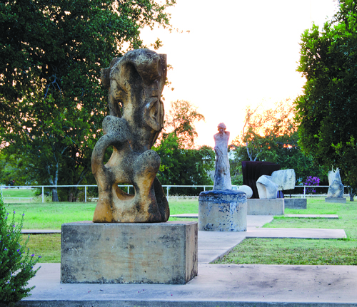 A view of the sculpture park on the Liberty Hill Intermediate School campus.