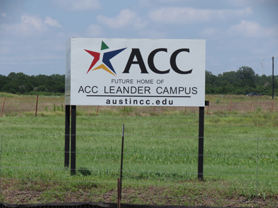 The future home of the Leander campus of ACC is at US Highway 183 and Hero Way.